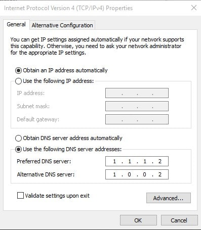 Use the following DNS address