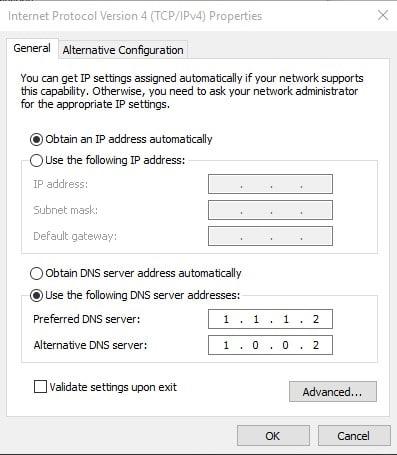 استخدم عنوان DNS التالي