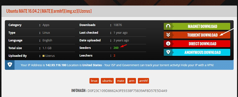 Click on download torrent button