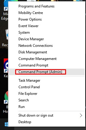 Open Command Prompt (admin)