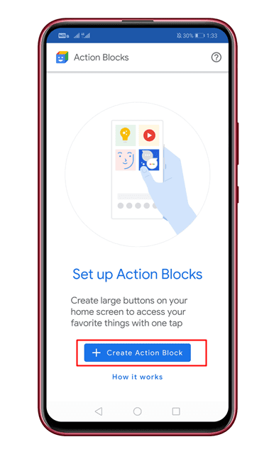 Tap on the 'Create Action Blocks' button