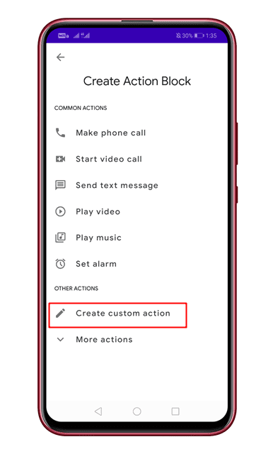 Action Blocks on Android