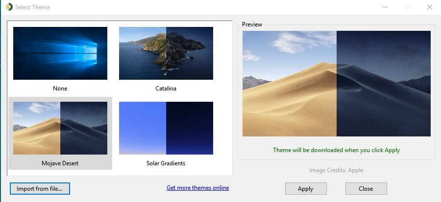Select the theme and click on 'Apply'