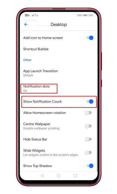 enable 'Notification Dots' and Notification counts