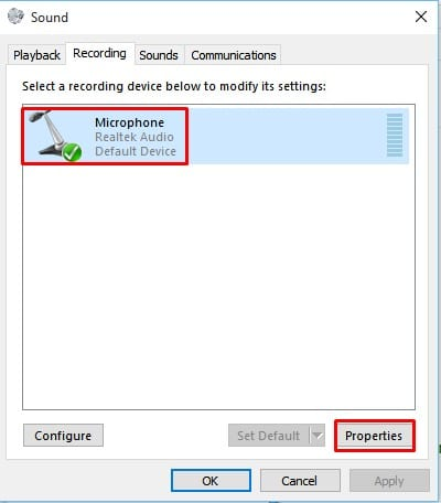 click on 'Microphone' and then on the 'Properties'