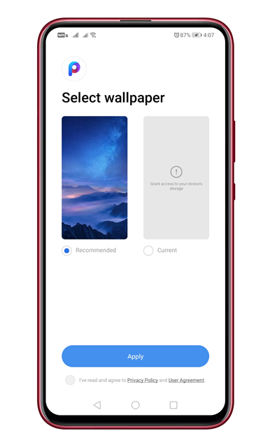 Select the wallpaper