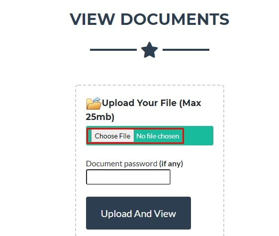 Click on 'Choose file' and browse the file