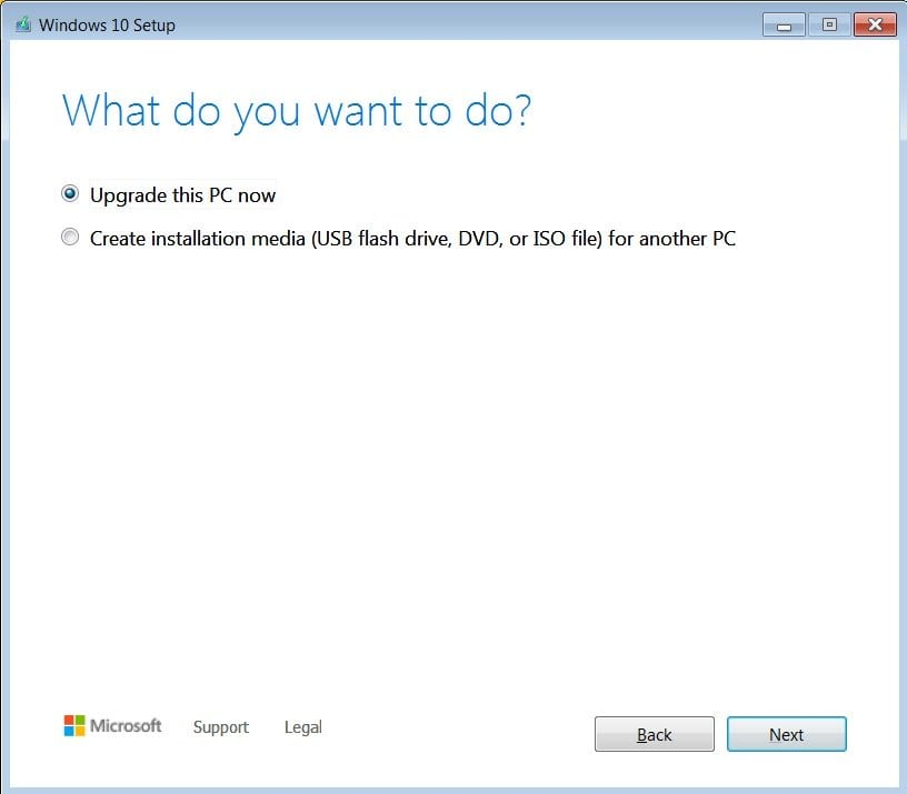 Select 'Upgrade this PC now' and click on 'Next'