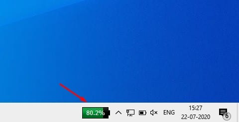 Click on the battery icon to show the remaining battery percentage