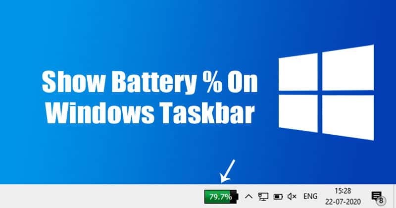 How To Show Battery Percentage on Windows 10 Taskbar