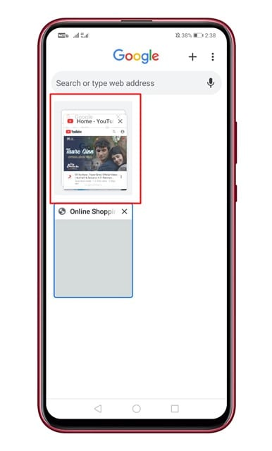 drag one tab over the top of the other tab