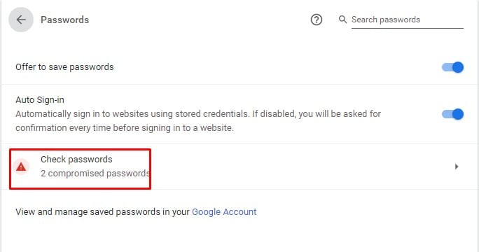 Click on the 'Check Passwords' option