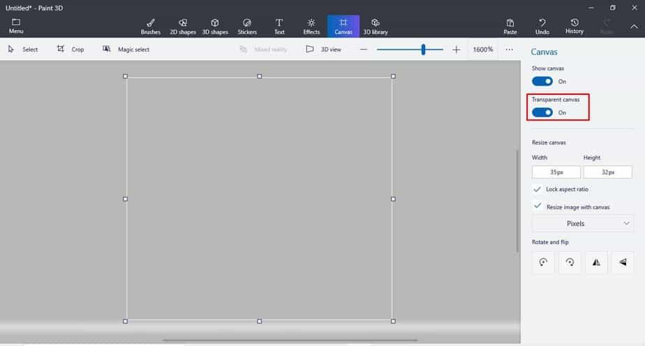 Enable the 'Transparent Canvas' option