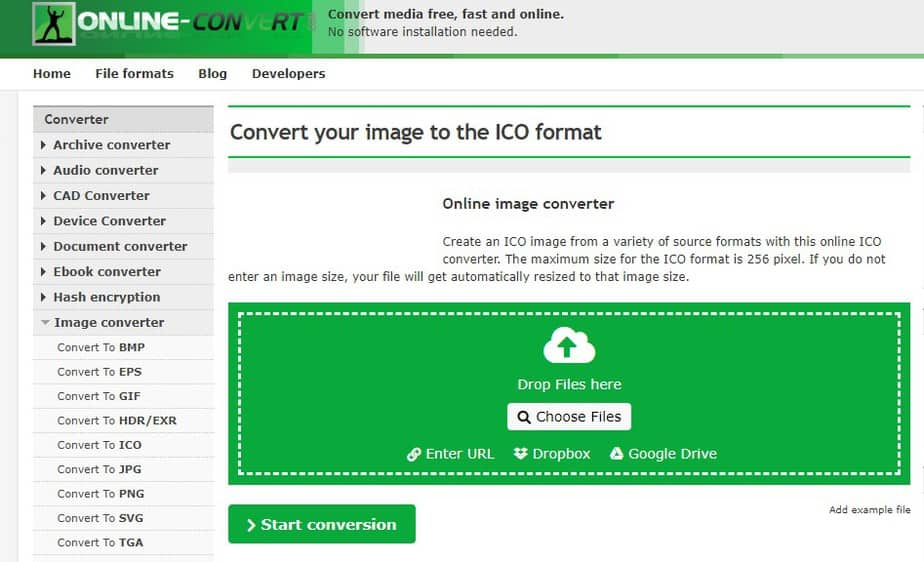 convert your image to the ICO format