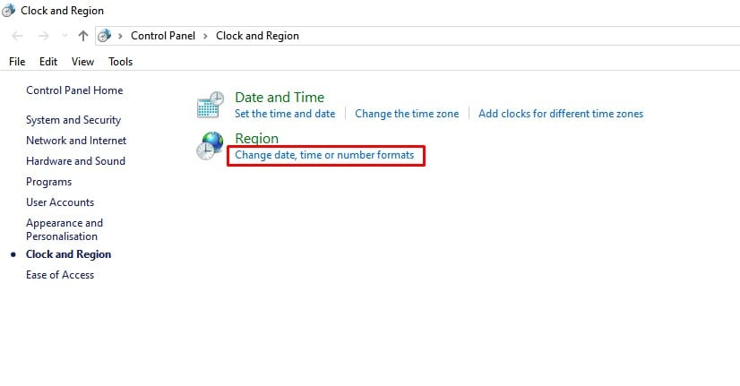 click on the 'Change date, time or number formats'