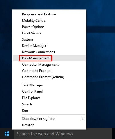 right-click on the Windows 10 start menu and select 'Disk Management'