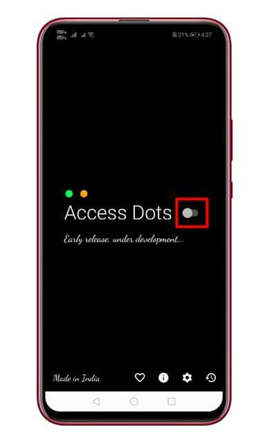 Enable the 'Access Dots' option