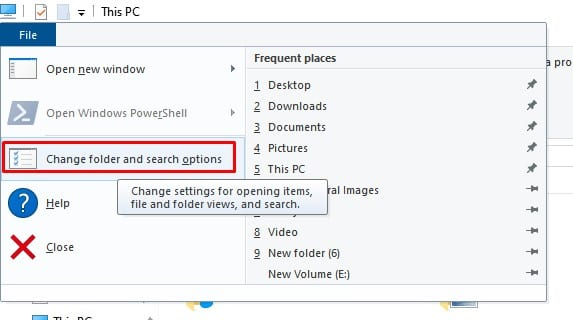 click on the 'Change folder and search options'