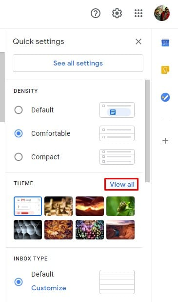 Click on the 'View all' button behind the 'Theme'