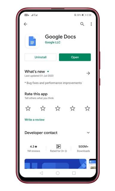 update the Google Docs app