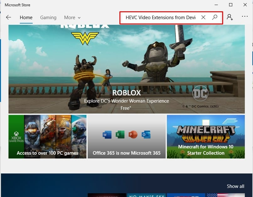 Search for 'HEVC Video Extensions'