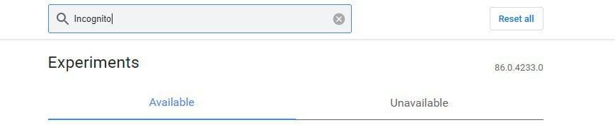 search for 'Incognito'