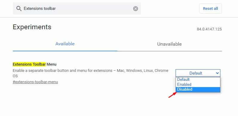 disable the 'Extensions Toolbar Menu' flag