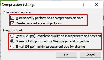 Select the compression type and click on 'Ok'