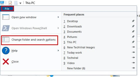 Select 'Change folder and search options'