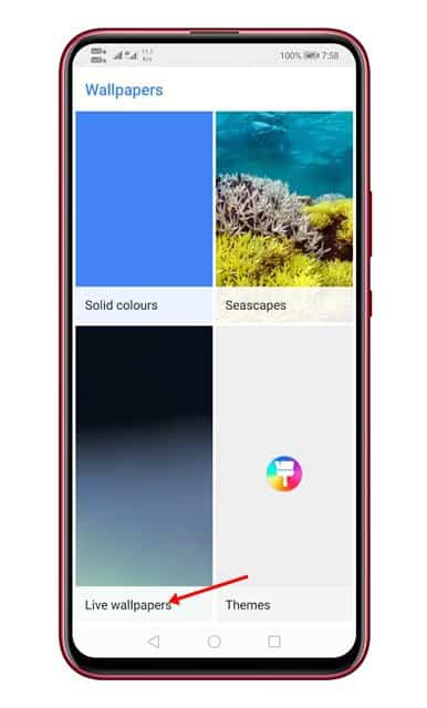 tap on the 'Live Wallpaper' option