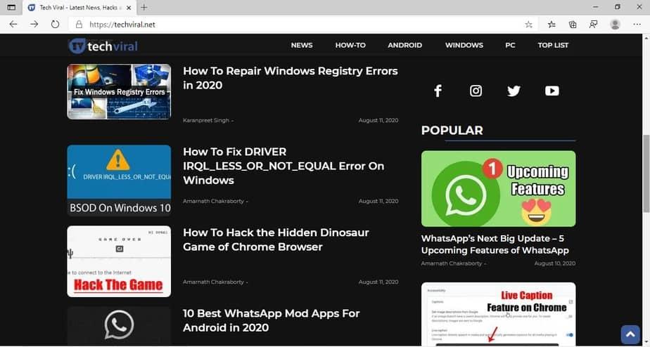 Dark mode on websites