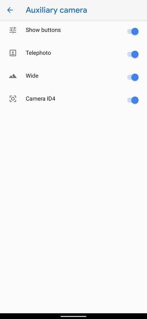 Enable the auxiliary cameras