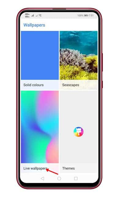 tap on the 'Live Wallpapers' option