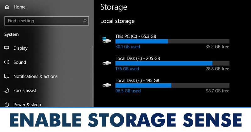 Enable Storage Sense on Windows 10 Computer