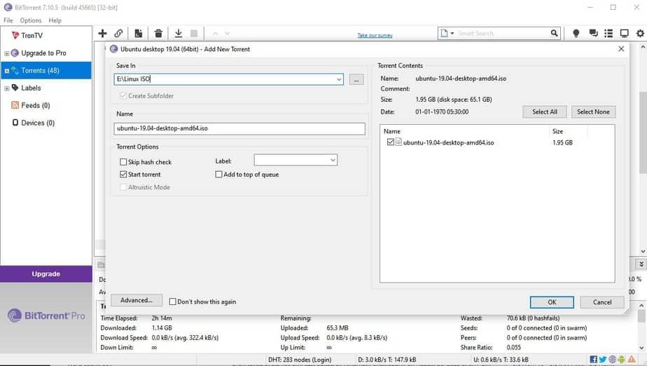 Agregue el archivo Torrent en el cliente