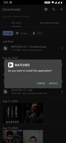 download & install the Watched app on your Android