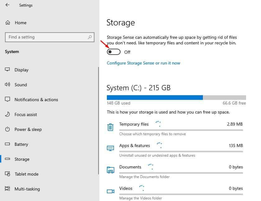 look for the 'Storage Sense' option