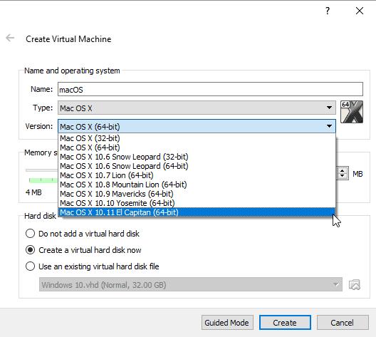 select 'Mac OS X 10.11 El Capitan' under the version