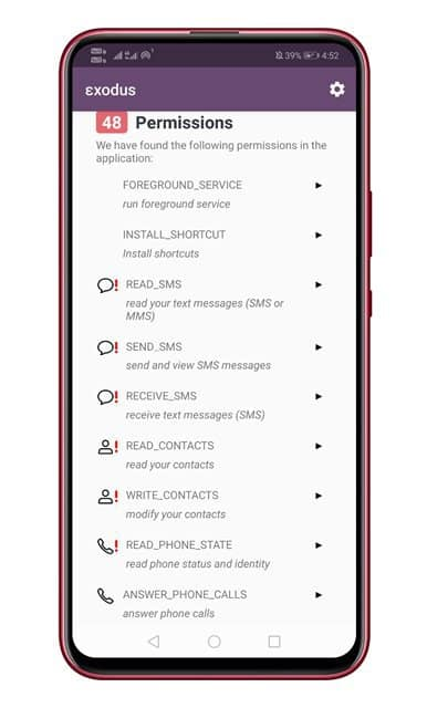 list of permissions that the app has been granted
