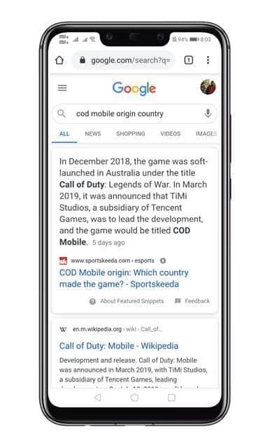 Using Google Search