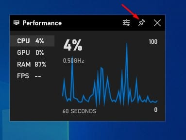 Click on the 'Pin' button to pin the performance panel