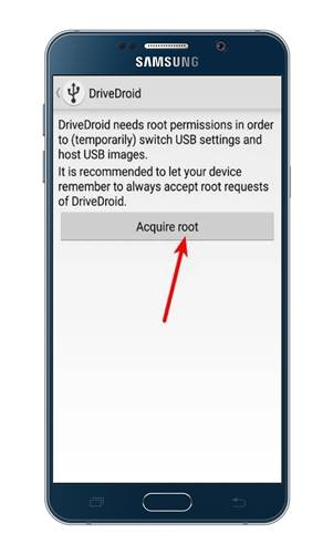 Tap on the 'Acquire root' option