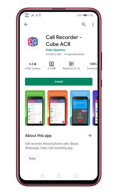 Install Call Recorder - Cube ACR