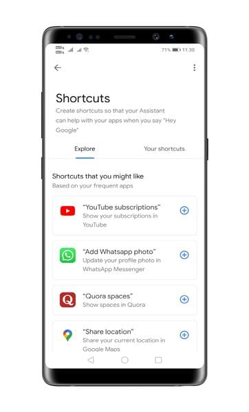 Third-party app shortcuts