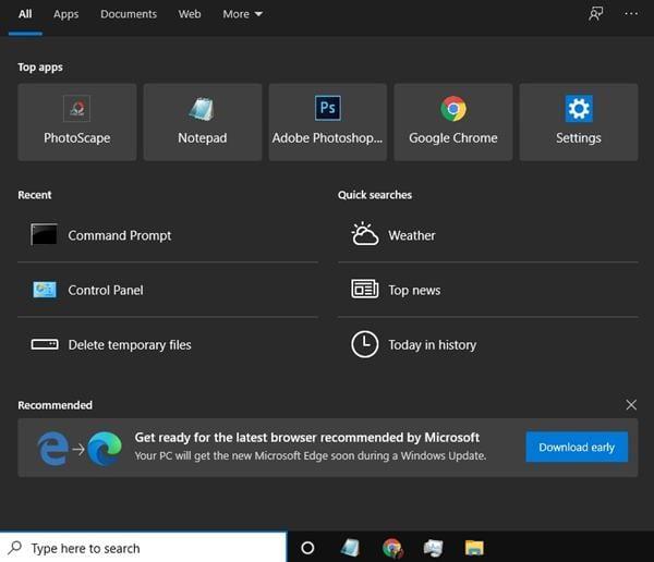 open the Windows Search box