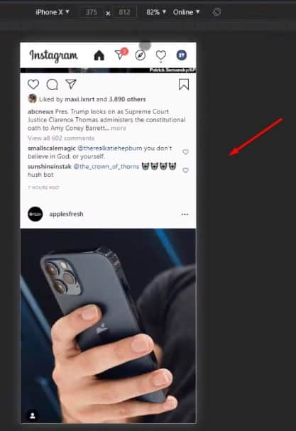 Mobile interface of Instagram