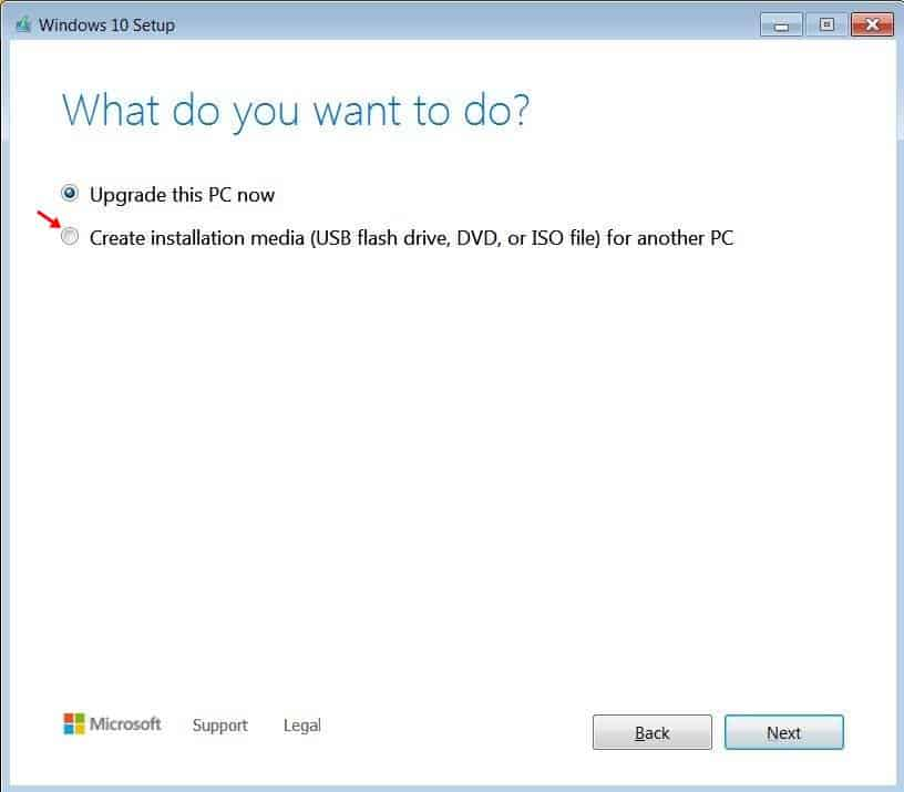 select the 'Create installation media'