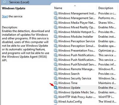 double click on the 'Windows Update' option