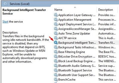 Double click on 'Background Intelligent Transfer'