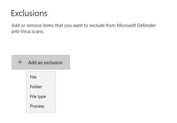 Exclusion options